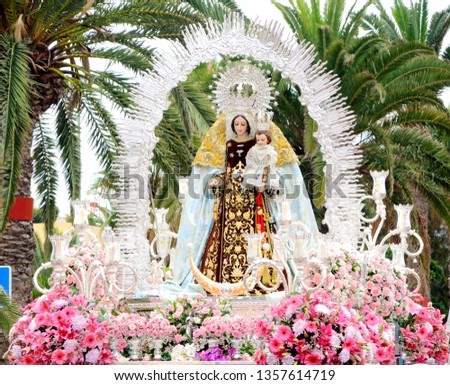 Madonna figure carried in the street during religious festivities, Canary Islands, Spain, Europe.