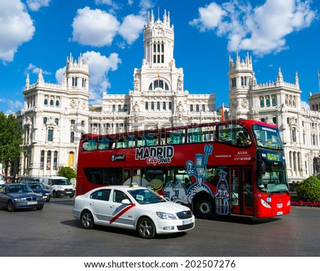 MADRID JULY 2 2014 Cibeles Palace Palacio de Cibeles City Hall of Madrid formerly Palace of Communication and tour bus Iiconic monument of the city In Madrid Spain on July 2 2014