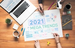 2021 Maga trends with digital marketing concepts.Bsusiness plan and strategy analysis