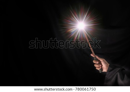 Magic wand with sparkle.miracle magical stick with sparkle