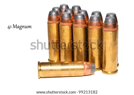 41 Magnum ammunition on a white background with space for text on the left.