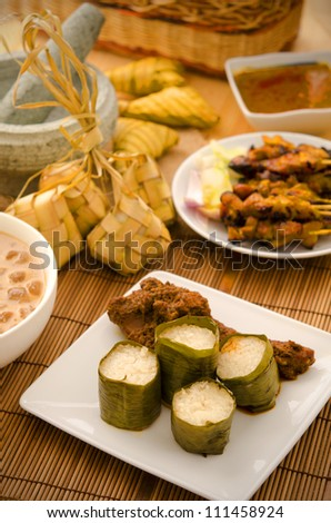 malay hari raya foods  lemang ,focus on lemang - stock photo