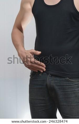Male Appendicitis Or Ureter Pain. Stock Photo 246328474 ...
