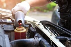 Male hand filling car power steering fluid