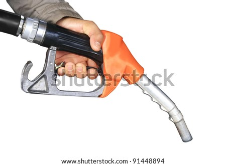 Male hand holding gas pump isolated