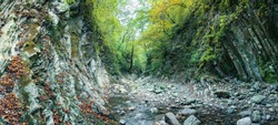 Mamedovo gorge. Russia, Krasnodar region, the village of Lazarevskoye. The river bed of the mountain river in the forest