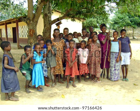 MAMPONG, GHANA - APRIL 19: Unidentified Ghana children pupils on April 19, 2009 in Mampong, Ghana. Close to 10% of Ghana's population are orphans, due to HIV/AIDS.