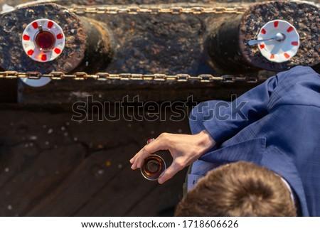 man drinking tea on the ship Stok fotoğraf ©