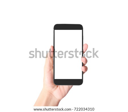 man hand holding smartphone device and touching screen #722034310
