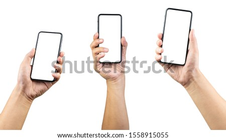 Man hand holding the smartphone full screen with blank screen . isolated on white background.