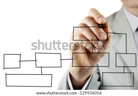 man in a business suit makes a block diagram on a blackboard