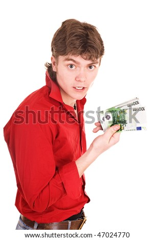 Man in red with money euro. Isolated.
