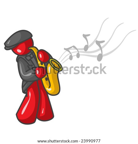 man playing the saxaphone with musical notes flowing into the air.
