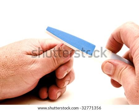 Man polishing nails