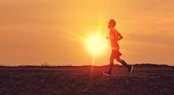 Man running on road sport free run