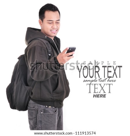 man smiling while holding cell phones and carrying bag, isolated on white background
