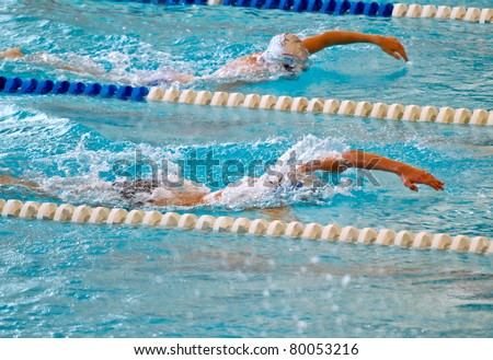 man swimming during a competition - stock photo