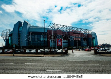 """Manchester, United Kingdom- September 1,2018: A picture of Old Trafford during no match day and open for stadium tour. It is the home for Manchester United."" #1180494565"