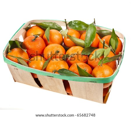 mandarins box  isolated on white