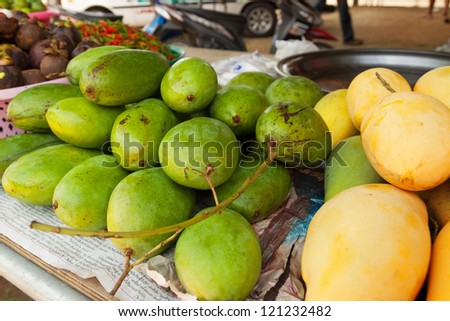 Mango fruits on the local market in Thailand