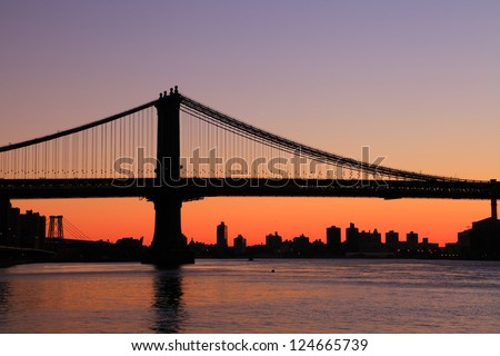 Manhattan bridge Sunrise New York skyline
