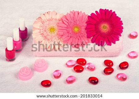 Manicure salon, place for manicure decorated with flowers #201833014