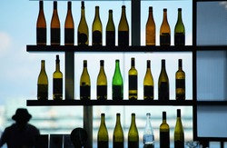 Many bottles on the shelf by the window