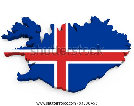 Map of Iceland with Flag, Republic of Iceland