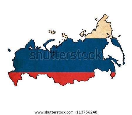 map of Russia on Russian flag drawing ,grunge and retro flag series