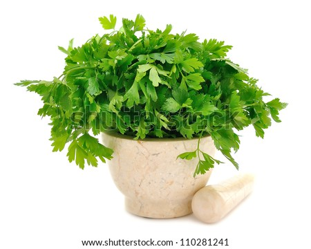 Marble Mortar and parsley on a white background