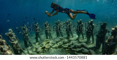 """26 March 2019 near island Gilli, Indonesia. An underwater sculpture in Indonesia """"Neste"""" will take divers to a hauntingly beautiful place below the surface #1443570881"""