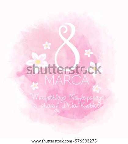 8 March Womens Day card - Polish language  Zdjęcia stock ©