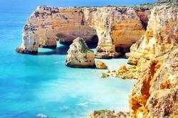 Marinha Beach,  located on the Atlantic coast in Portugal,Algarve.