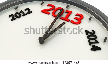2013 marked by the hands of a clock and sides between 2012 and 2014