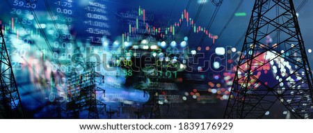 market stock graph and index information with city light and electricity and energy facility banner industry and business background Foto stock ©