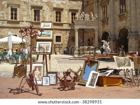 market with antiquities in main square of Montepulciano, Tuscany