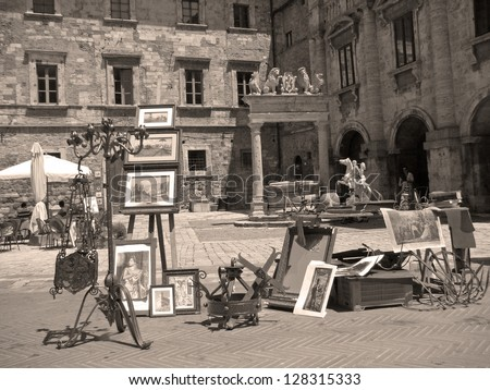 market with antiquities on main piazza of tuscan  town, Montepulciano, Tuscany, Italy, Europe