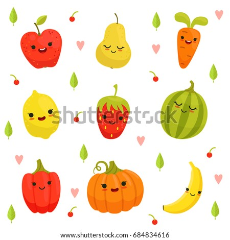mascot design of cartoon fruits and vegetables