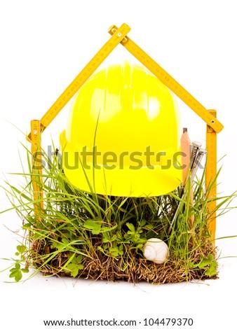 mason tools and green grass