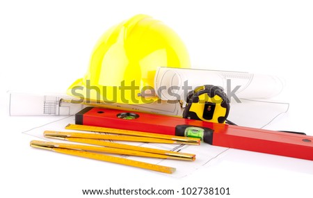 mason tools and house construction plans