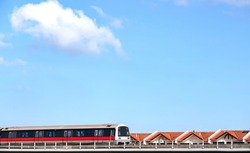 mass rapid train MRT travels on the track oldest metro at Singapore
