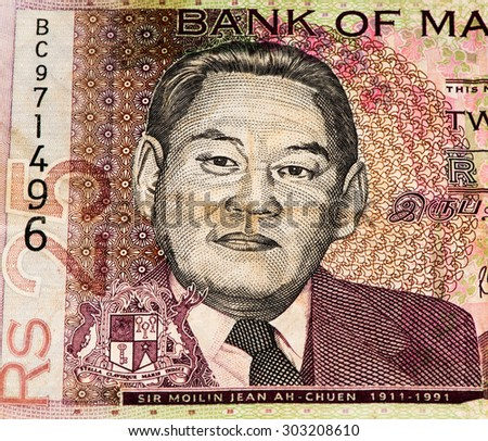 25 Mauritian rupees bank note  Mauritian rupee is the main