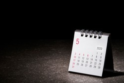 2020 May calendar on black background