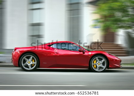 13 May 2017, Kiev - Ukraine. Editorial photo. Ferrari 458 Italia at high speed. The car is on the move.