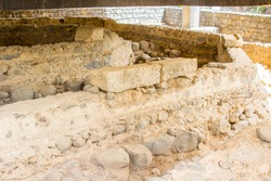 3 May 2018 The excavated ruins of what is believed to be St Peter's house iin the ancient town of Capernaum in Israel