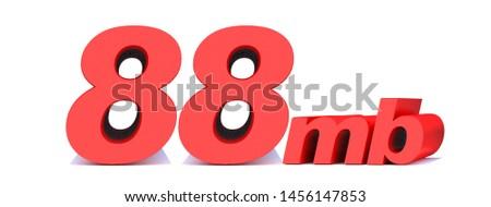 88 mb .88 Mbps word on white background. 3D illustration
