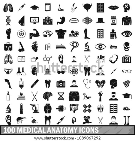 100 medical anatomy icons set in simple style for any design illustration