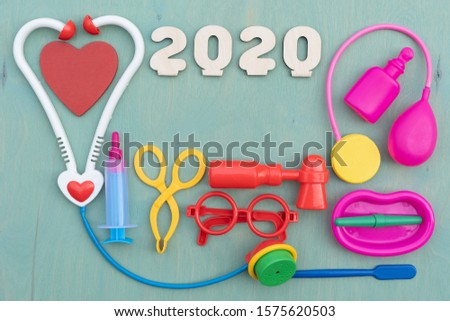 2020 medical children kit toys. Creative funny healthcare education for kids. New year plan basics of medicine educational play.