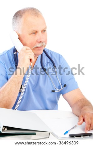 medical doctor calling by phone. Over white background