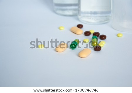 medical drugs and devices for constipation and for the delivery of urine.white background isolated Stockfoto ©